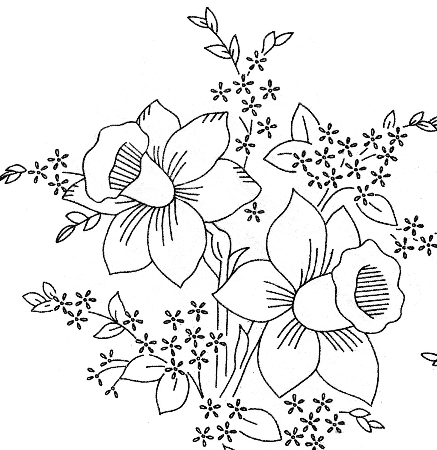 1458x1500 Old Embroidery Transfer 582 Flowers Bleeding Heart Pansy Violet