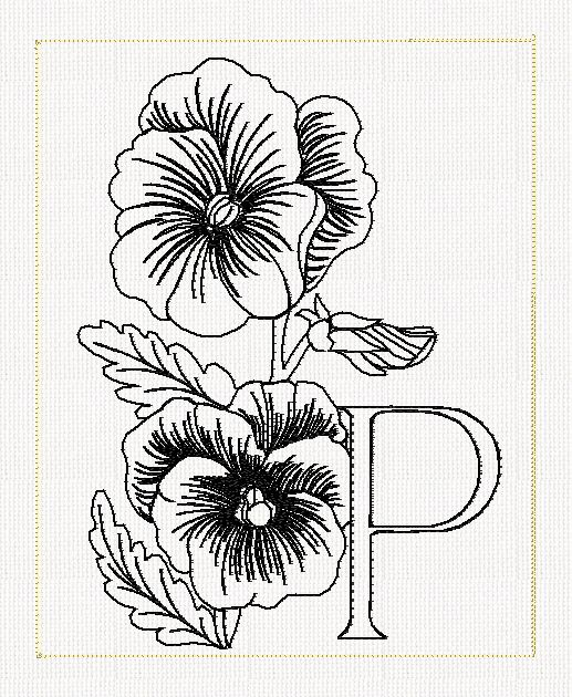 517x630 Pansy Flower Line Drawing