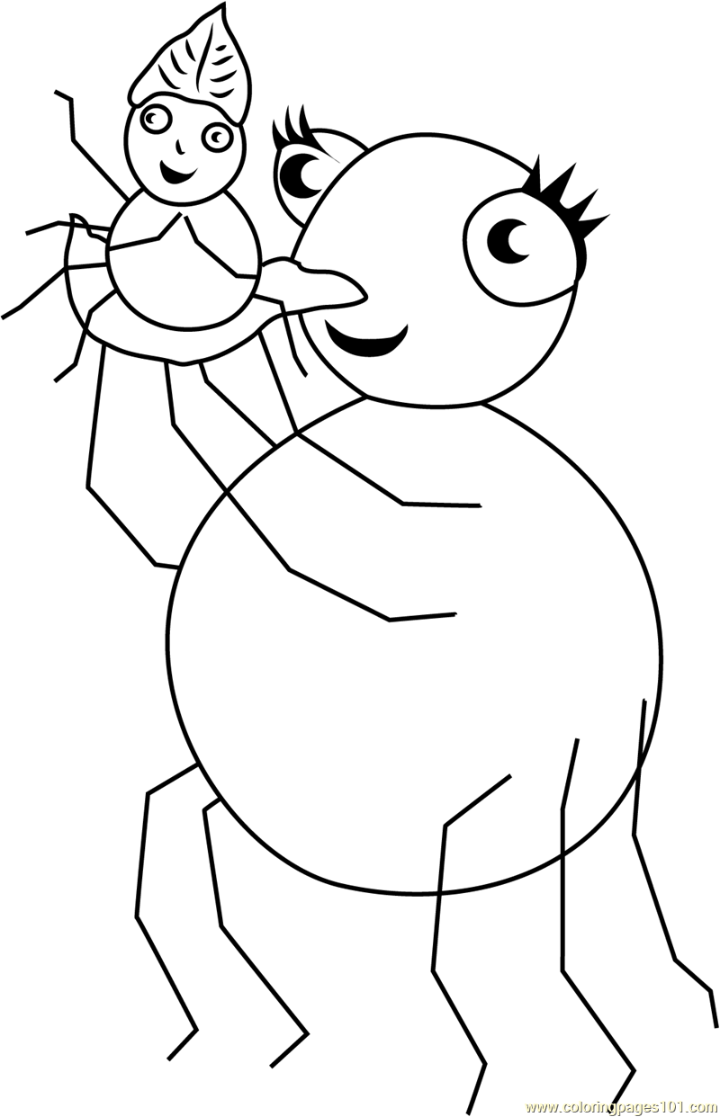 800x1242 So Happy Miss Spider With Pansy Coloring Page