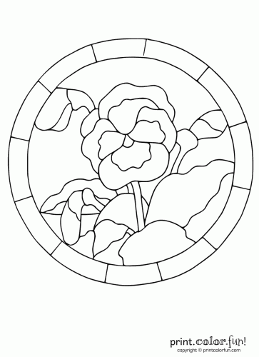363x500 Stained Glass Pansy Coloring Page