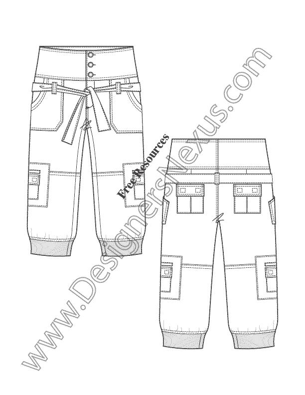 612x792 Illustrator Flat Sketch High Waist Rib Cuff Cargo Capri Pants