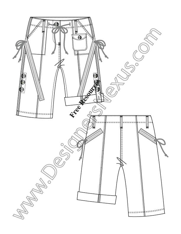 612x792 Illustrator Flat Sketch High Waist Roll Cuff Drawstring Waist