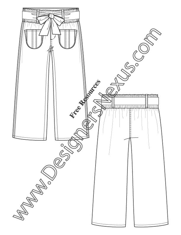612x792 Paper Bag Waist Pants Flat Fashion Sketch Template Art