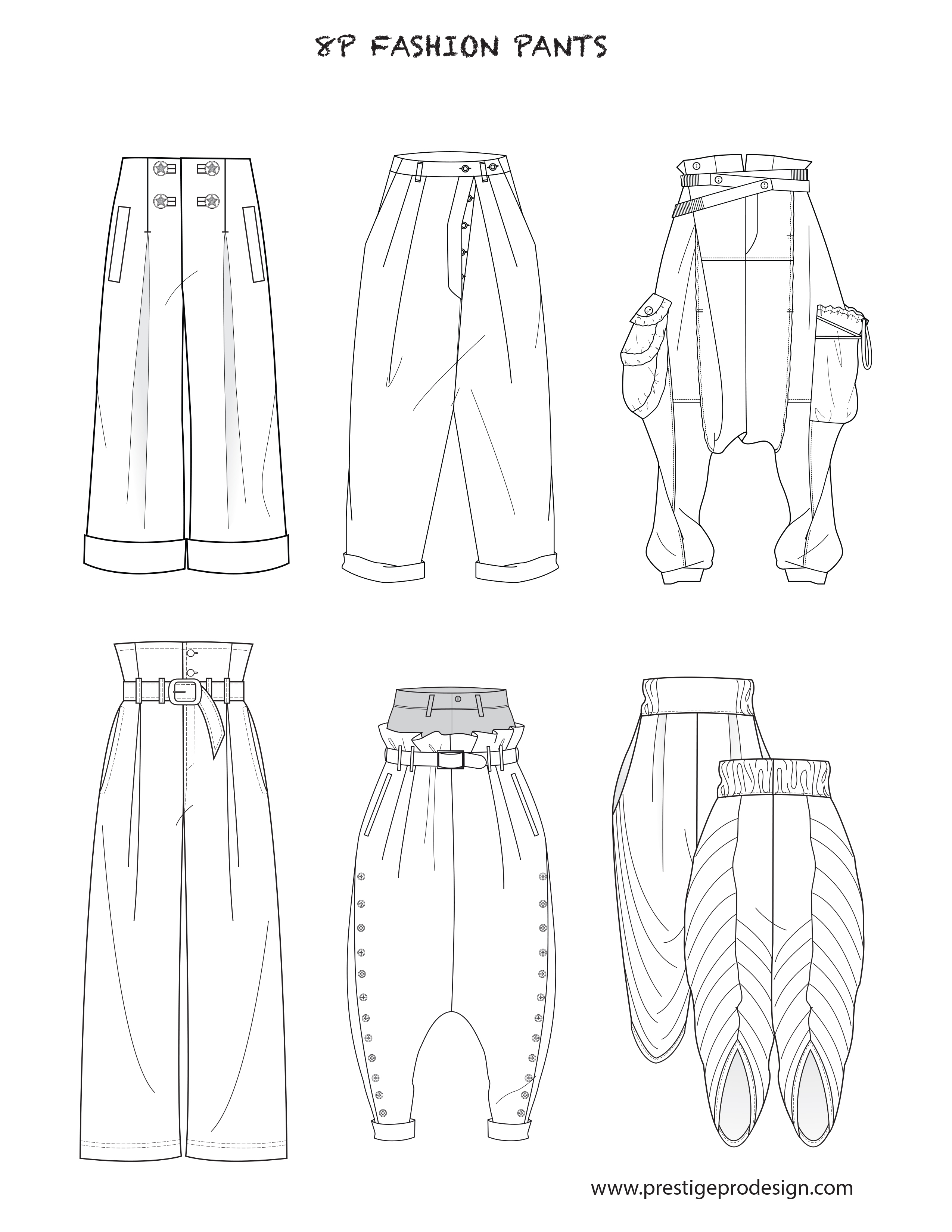 2550x3300 Fashion Flat Sketches For Pants