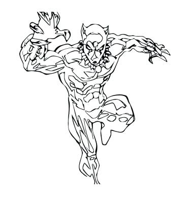 374x392 Black Panther Coloring Pages Black Panther Sketch Drawing Black