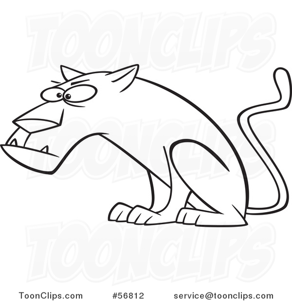 581x600 Cartoon Outline Curious Panther Big Cat Sitting