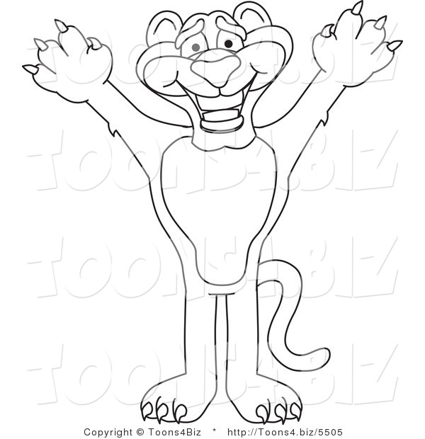600x620 Line Art Vector Illustration Of A Cartoon Panther Mascot Reaching