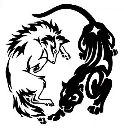 400x414 Outline Wolf And Panther Tattoo Design