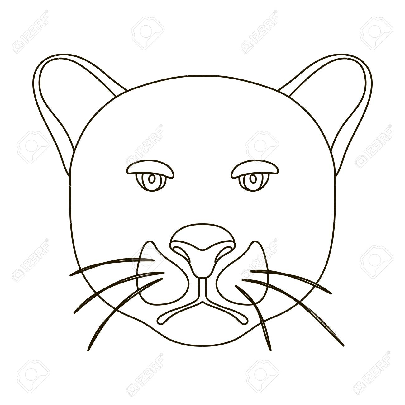 1300x1300 Black Panther Icon In Outline Style Isolated On White Background
