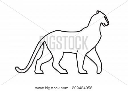 450x320 Black Panther Outline On White Vector Amp Photo Bigstock