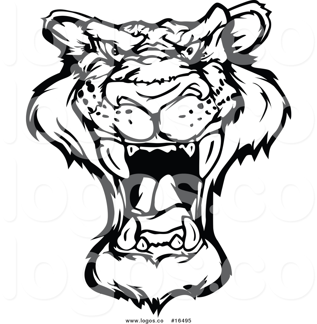 1024x1044 Royalty Free Vector Logo Of A Black And White Roaring Panther Face