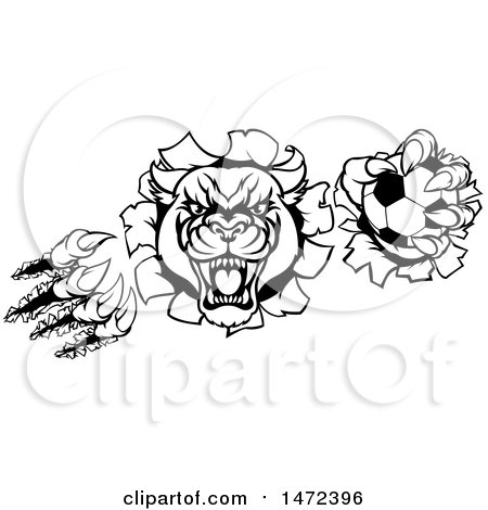 450x470 Clipart Of A Tough Roaring Black Panther Mascot Head