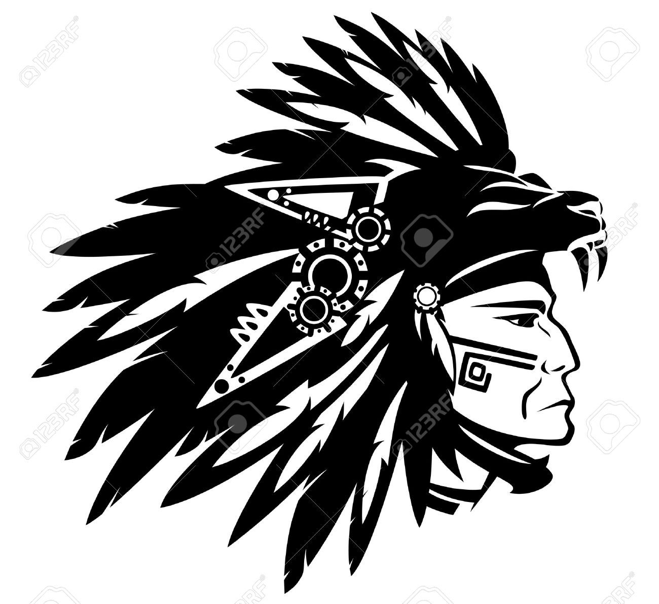 1300x1190 Aztec Tribe Warrior Wearing Feather Headdress With Panther Head