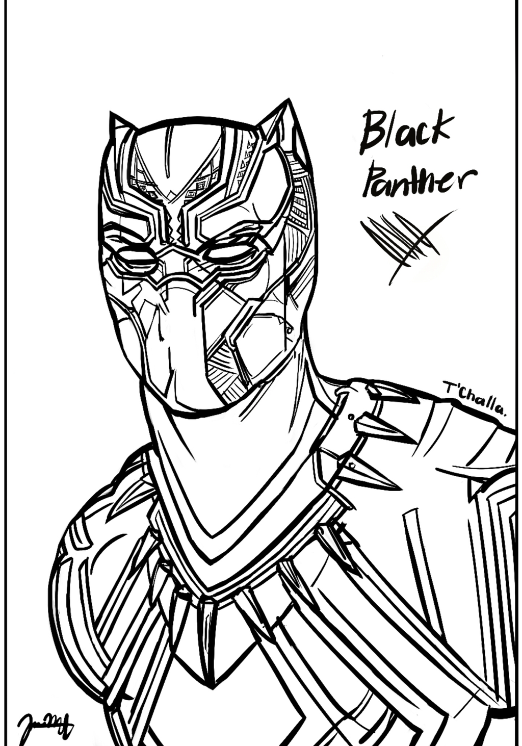 1024x1463 Black Panther Sketch By Jeransome