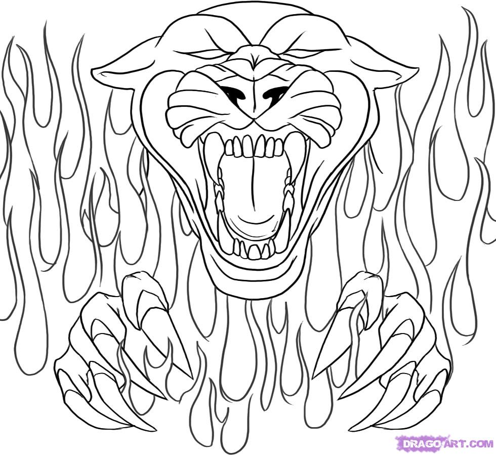 980x899 Drawing Flames Coloring Pages Panthers School Best