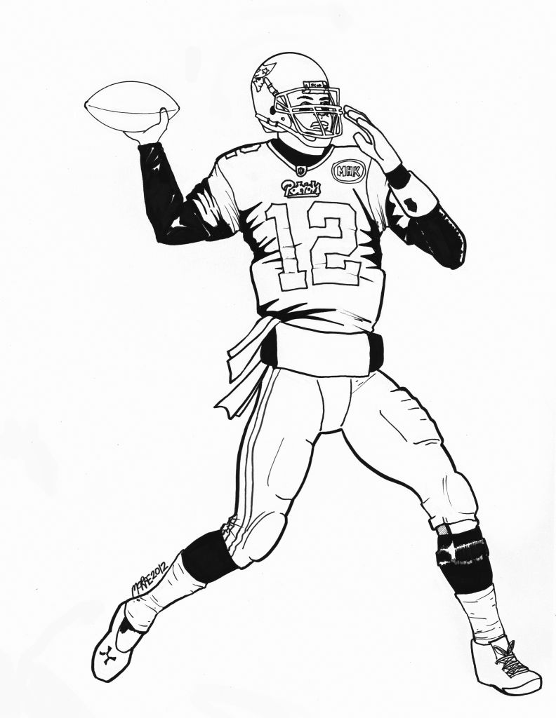 792x1024 Football Player Drawing Playing Coloring Page Pages Nfl General
