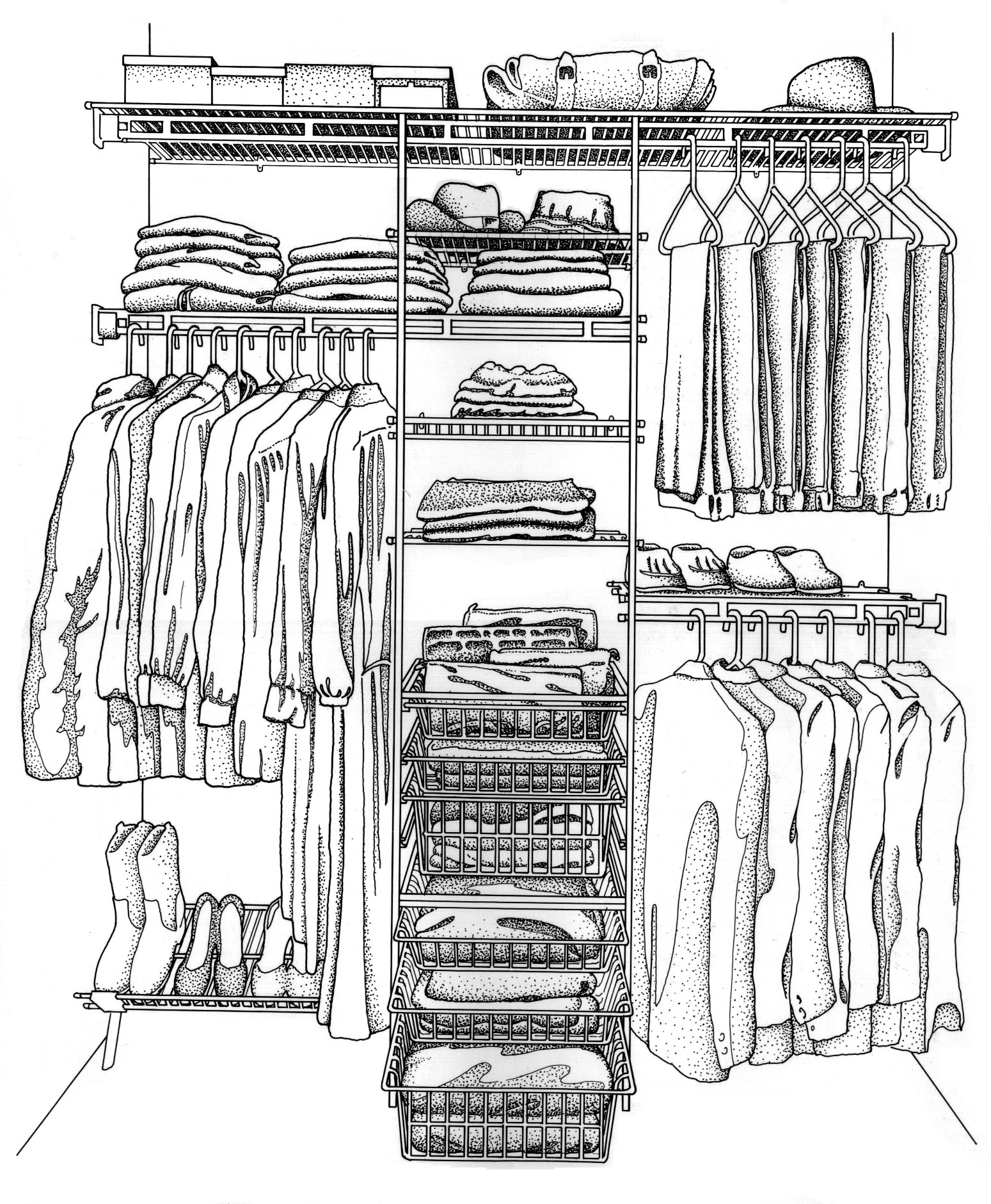 1549x1881 Closet Maid Products In A Closet. Line And Stipple Art By Randal