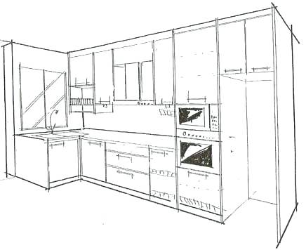 436x356 Kitchen Cabinet Plan Plans With Pantry Refrigerator And Range Free