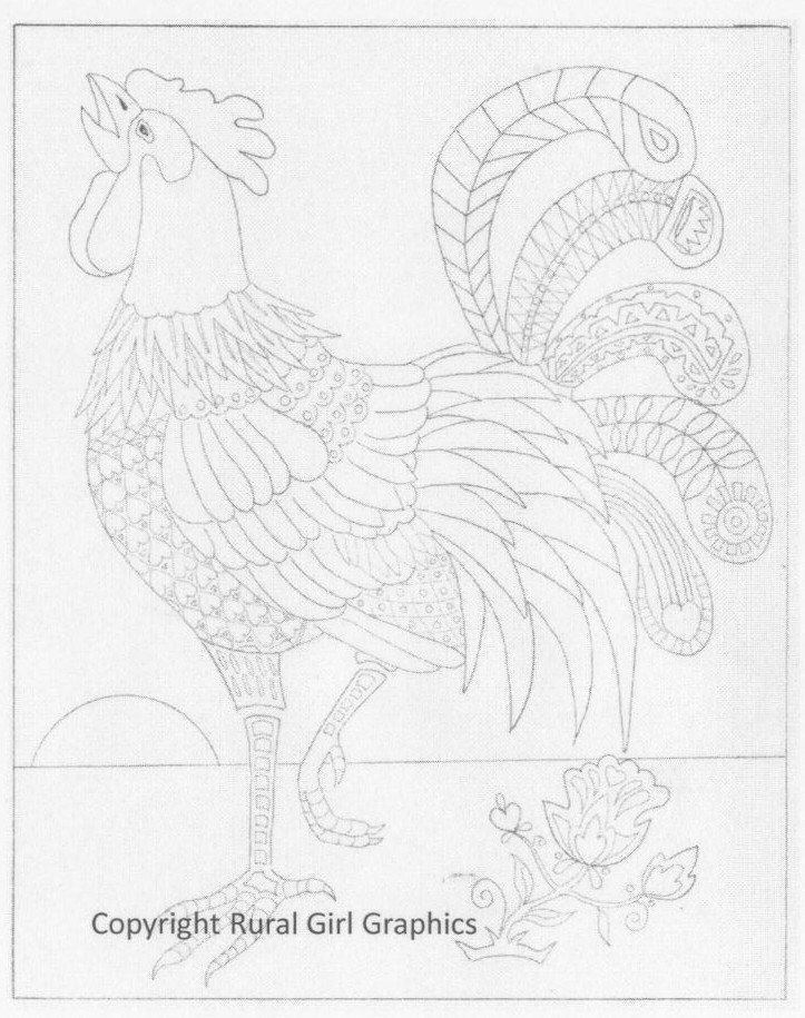 723x915 New! Rooster Coloring Sheet For Grown Ups! By Rggdmb On Etsy