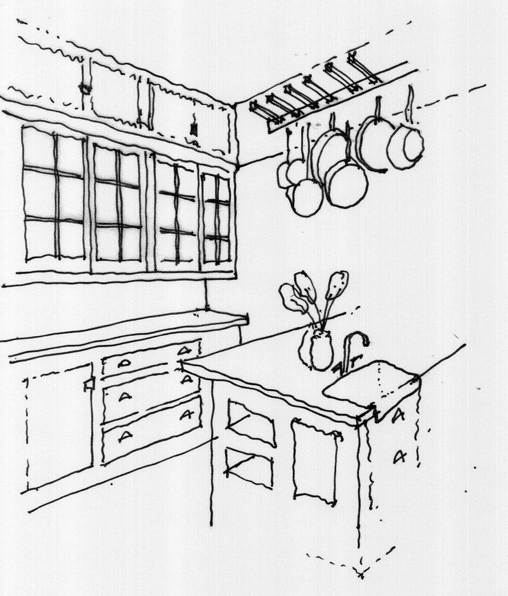 736x864 A Development Sketch Of The Kitchen Leading To The Butler's Pantry