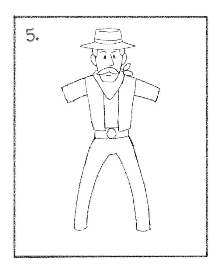 736x915 Cowboy Drawing Tutorial Draw A Cowboy Drawing Tutorials For Kids