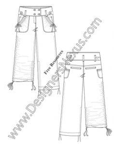 236x305 Adobe Illustrator Fashion Flat Sketch Sailor Waist Wide Leg Pants