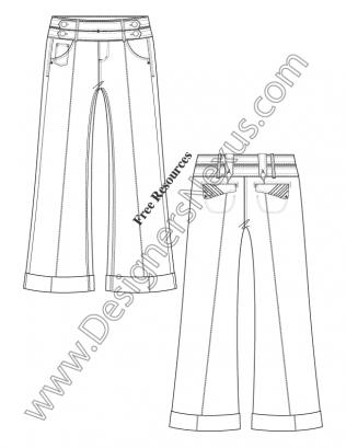 316x409 Adobe Illustrator Fashion Flat Sketch Sailor Waist Wide Leg Pants