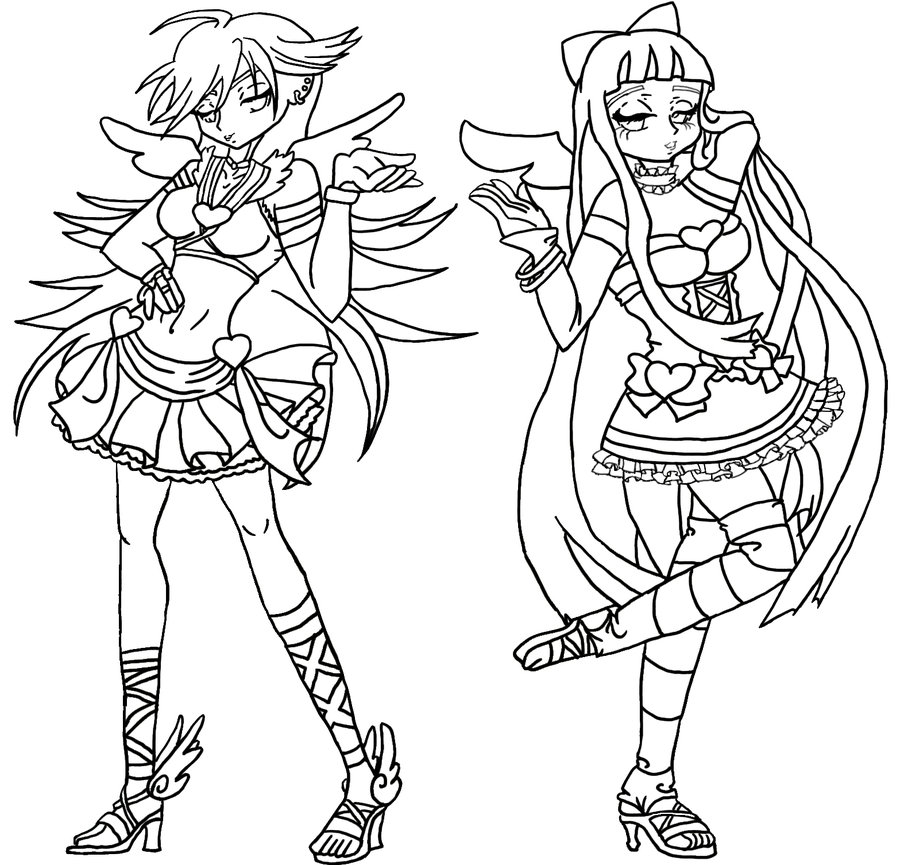 900x865 Angelic Mode Panty And Stocking Lineart By Rena Muffin