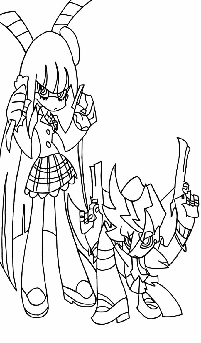 685x1166 Panty And Stocking Line Drawing By Mrpanafonic