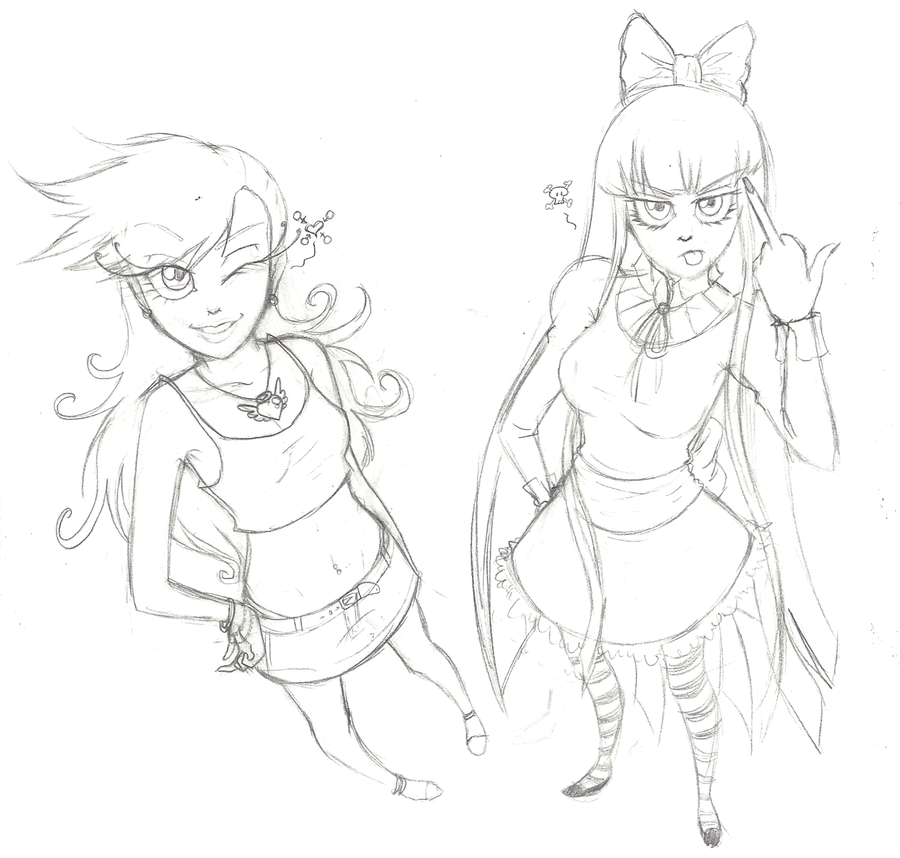 900x858 Panty And Stocking Sketch By Madelonetjj