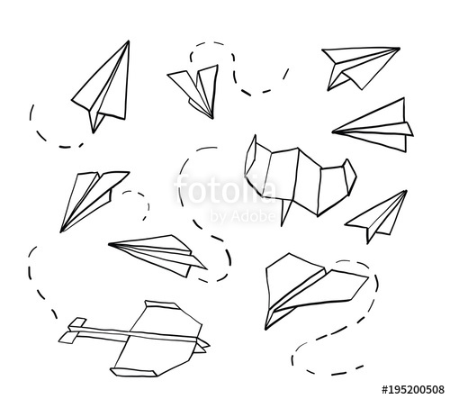 500x443 Paper Airplane. Hand Drawn Doodle Airplane. Vector Stock Image