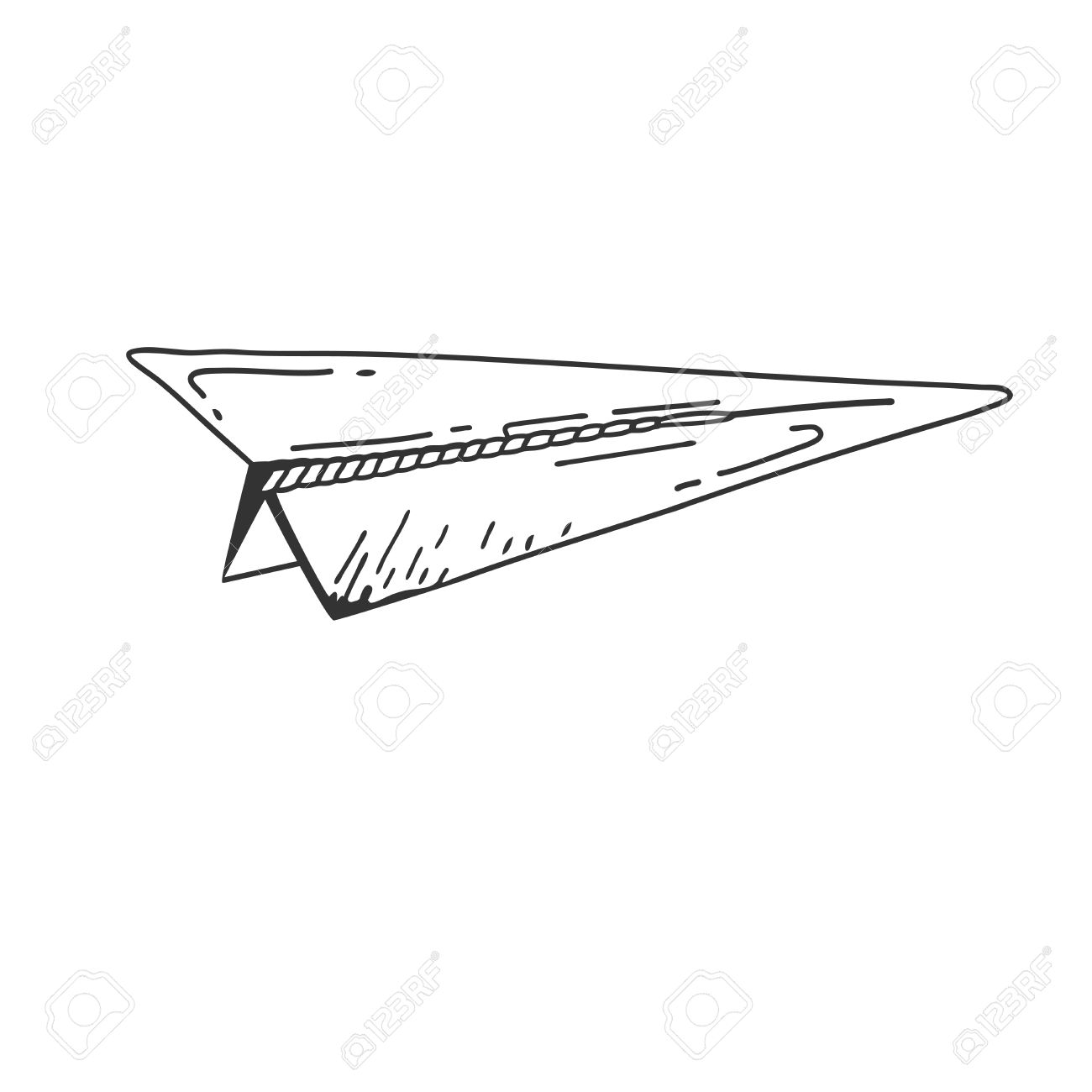 1300x1300 Airplane Symbol. Doodle Style Paper Airplane Icon. Hand Drawn