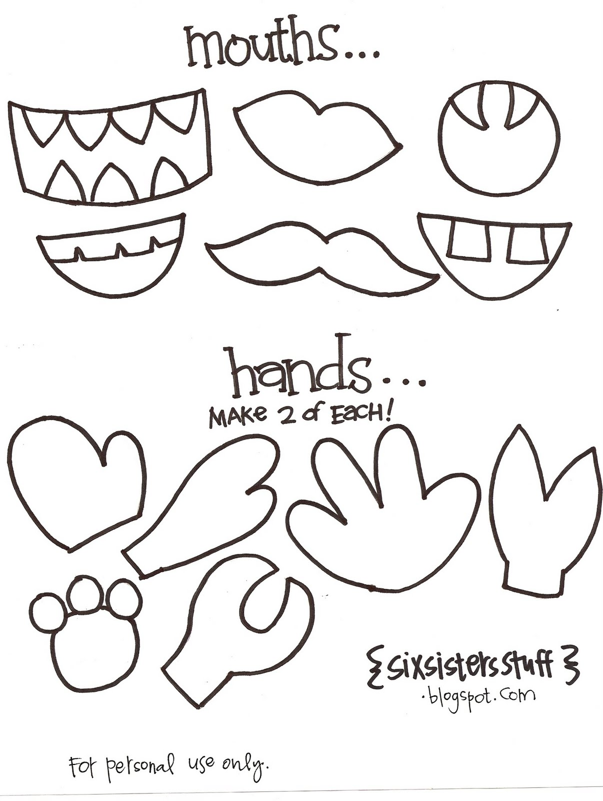 1206x1600 Kindergarten Printable Hat Templates Paper Bag Puppets Crafts