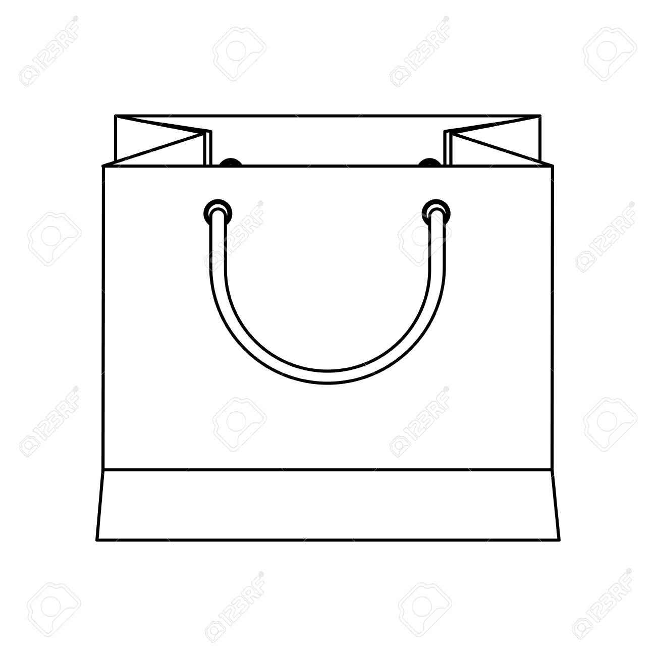 1300x1300 Paper Bag Gift Present Commercial Buy Outline Vector Illustration