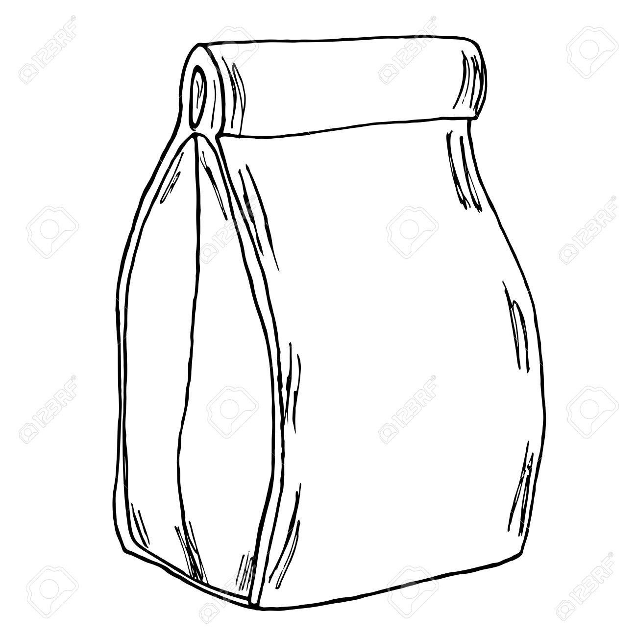 1300x1300 Paper Lunch Bag. Hand Drawn Cartoon Sketch. Vector Royalty Free