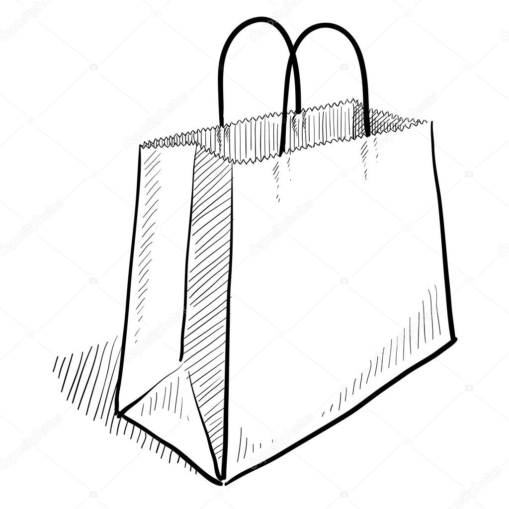1024x1024 Shopping Bag Sketch Stock Vector Lhfgraphics