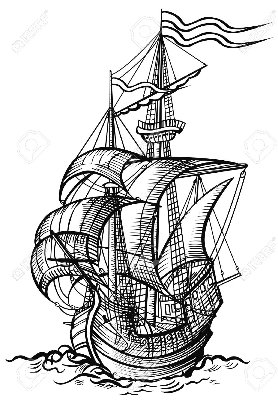 898x1300 An Old Sailing Boat In Wood Cut Drawing Style Stock Photo, Picture