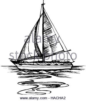 300x351 Sailing Boat Vector Sketch Isolated Stock Vector Art