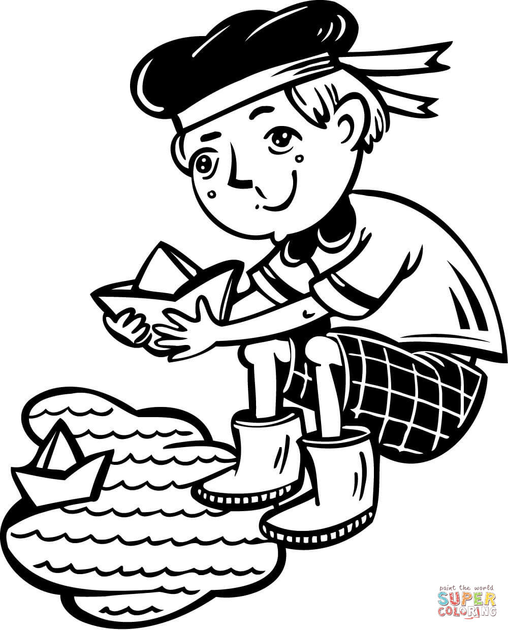1000x1240 Boy Playing With Boats In A Puddle Coloring Page Free Printable