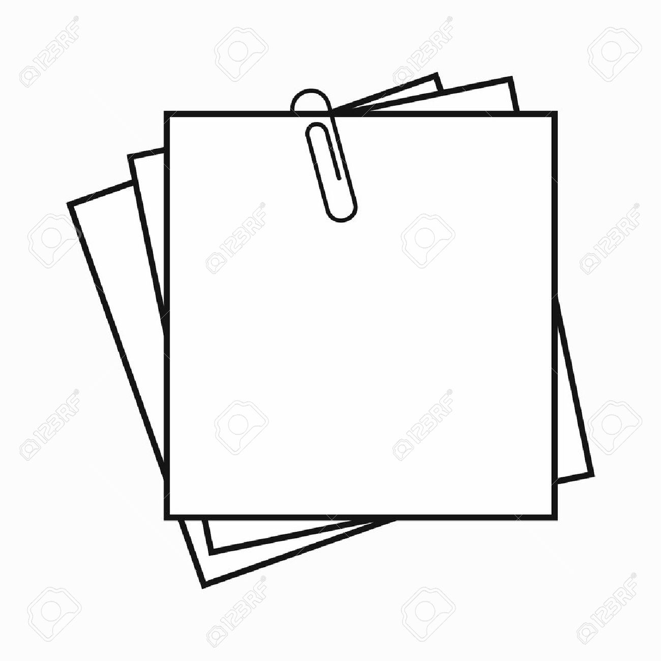1300x1300 Sheet Of Paper For Notes And Paper Clip Icon In Simple Style