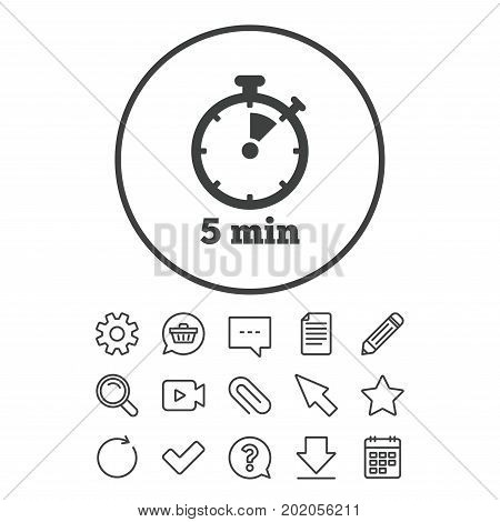 450x470 Timer Sign Icon. 5 Minutes Vector Amp Photo Bigstock