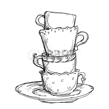 450x450 Hand Drawn Coffee Cup. Sketched Hot Tea Drink. Teacup Symbol