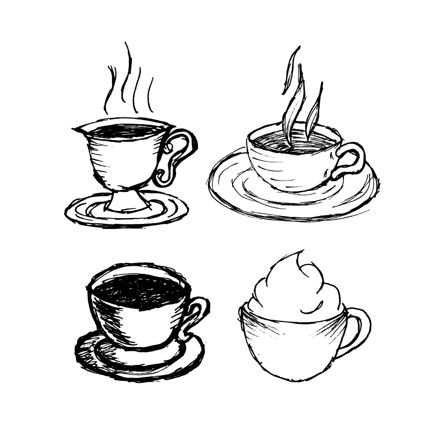 900x900 Hand Drawn Coffee Cups Vector (Svg)