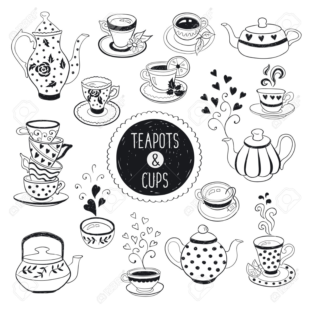 1300x1300 Hand Drawn Teapot And Cup Collection. Doodle Tea Cups, Coffee
