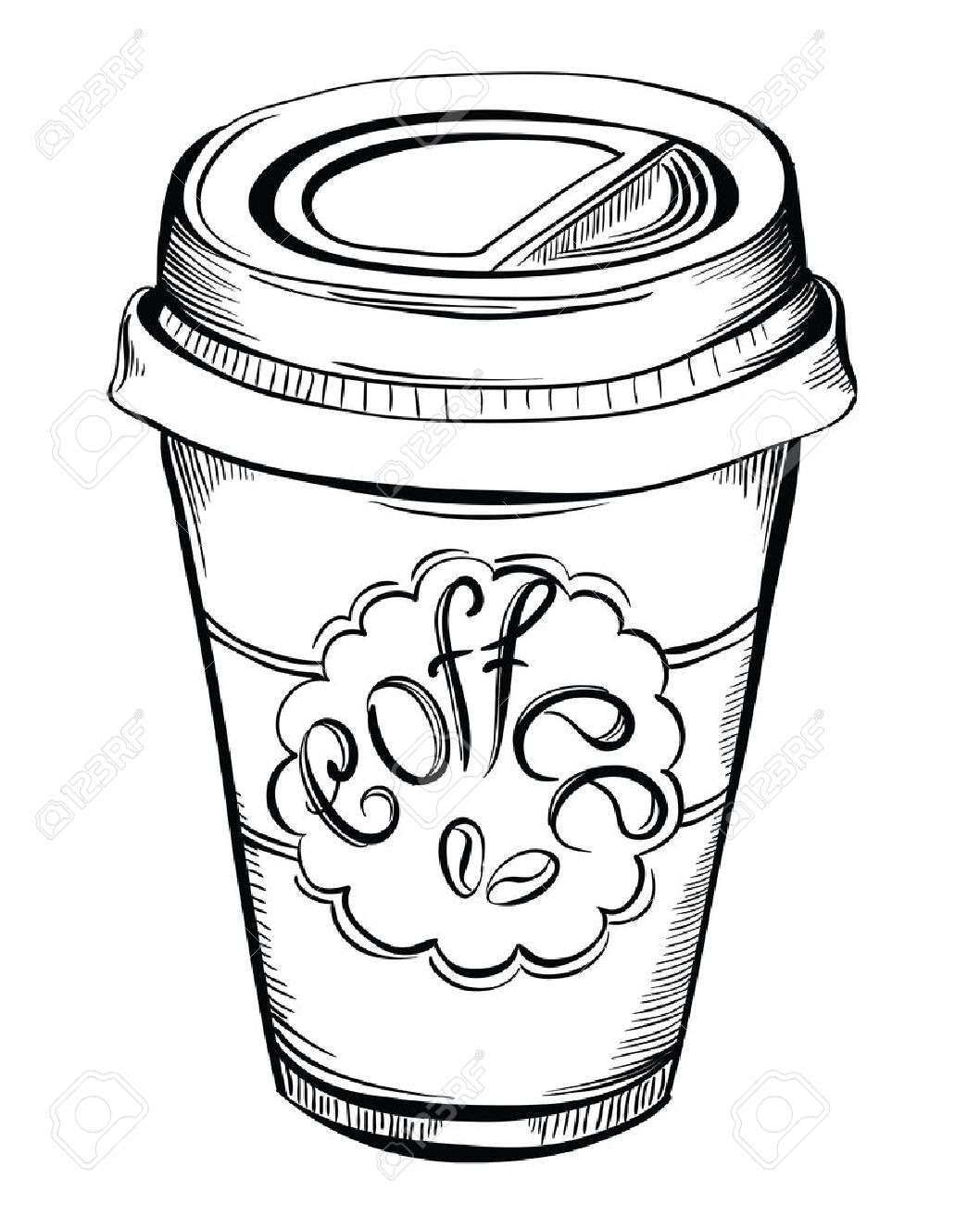 1058x1300 Hot Coffee Disposable To Go Cup With Lids And Label With Coffee
