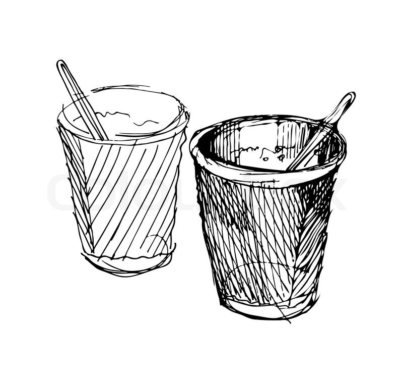 800x759 Sketch Of Two Paper Cup With Coffee Stock Vector Colourbox