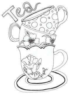236x323 Tea Cup Clipart Coloring Page