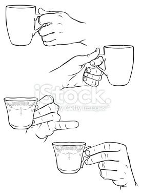 277x380 Vector Illustrations Of Hands Holding Tea Cups And Coffee Mugs