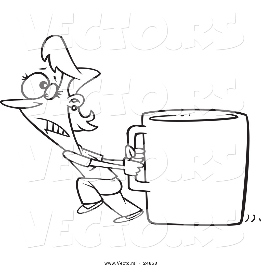 1024x1044 Vector Of A Cartoon Woman Pulling A Huge Coffee Cup