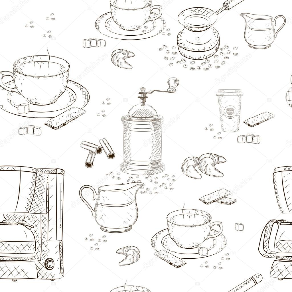 1024x1024 Coffee Seamless Pattern (Coffee Machine, Cup, Scoop, Sugar, Coffee